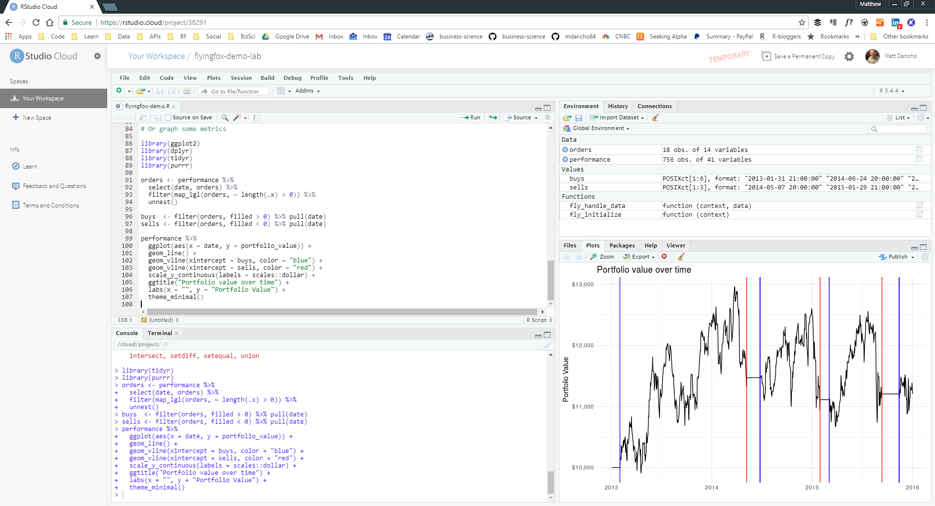RStudio Cloud Sandbox